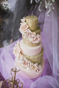 Sequins and whimsical sugar flowers